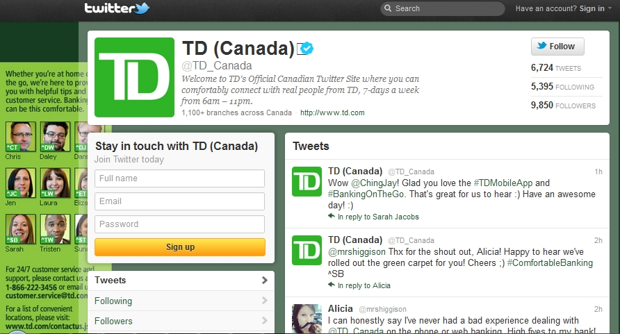 what is an example of a td account number