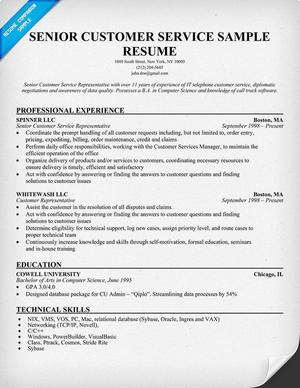 resume example for older adults