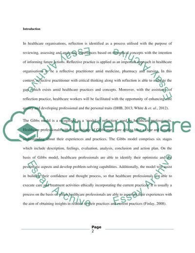 reflection paper on an article example nursing