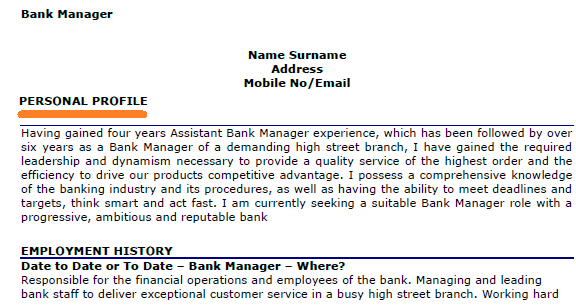 example of profile section in resume