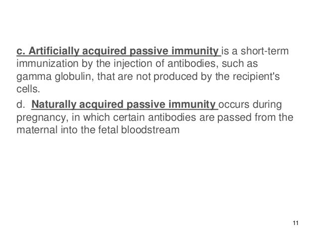 artificially acquired passive immunity example