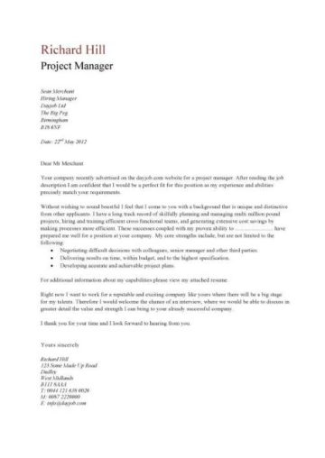 junior project manager cv example