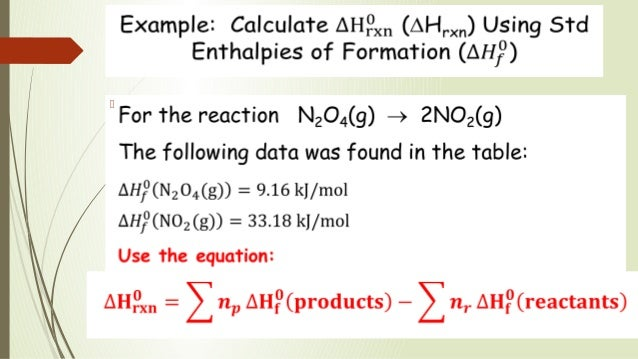 standard molar enthalpy of formation example
