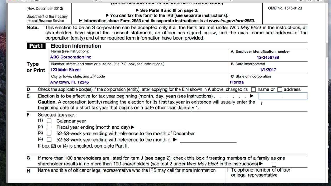 example filling out ocf-18 form
