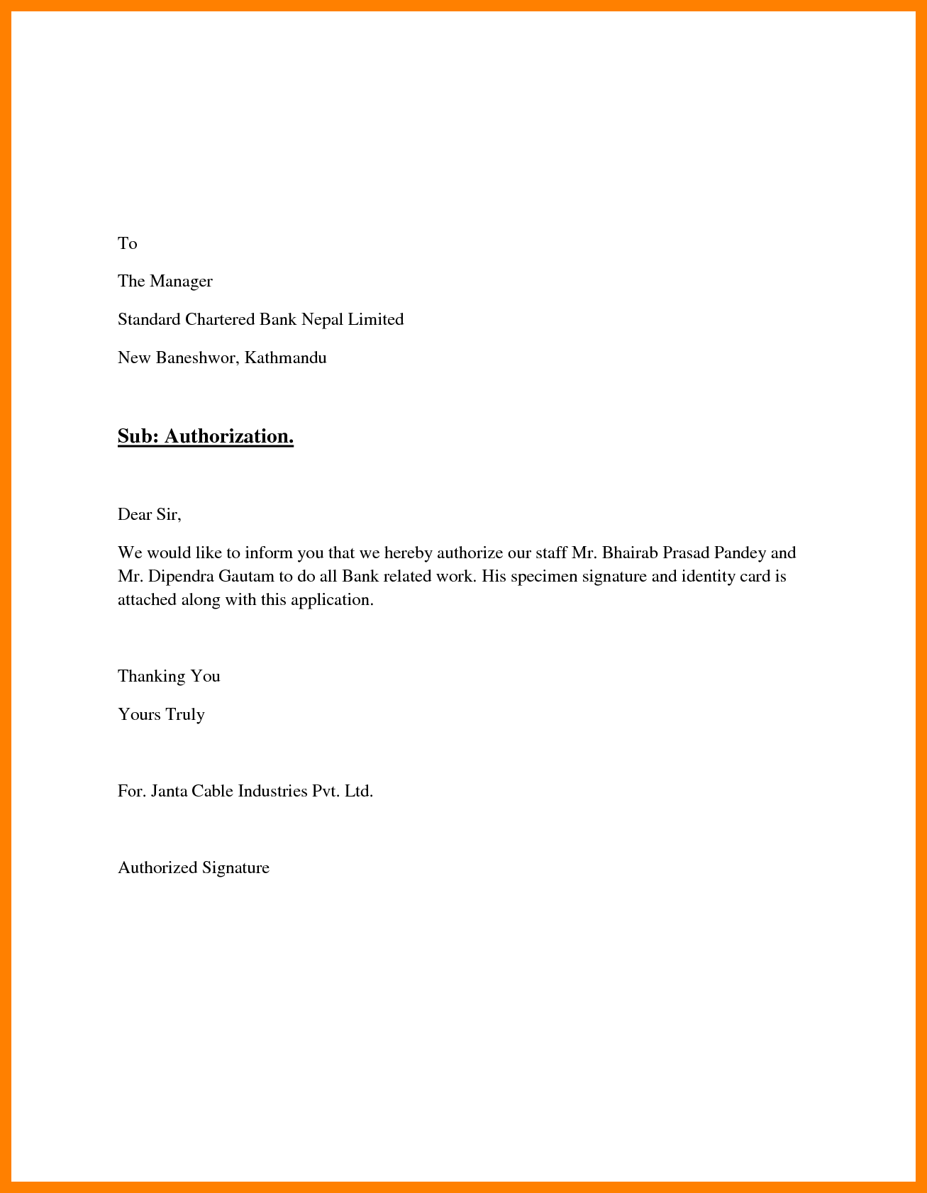 example of authorization letter for document