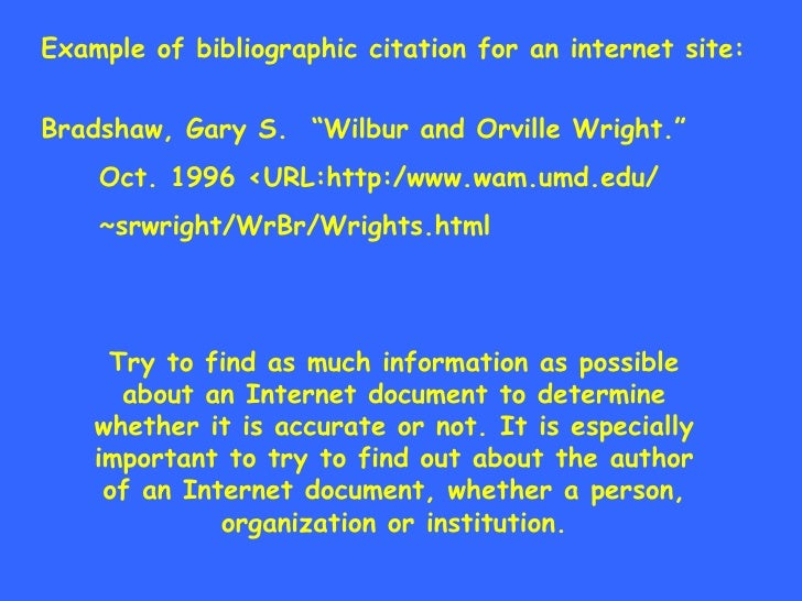example of bibliography in internet