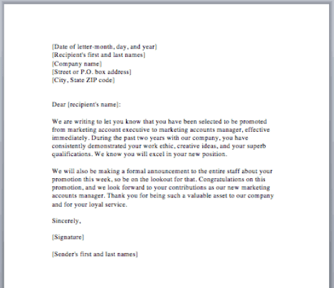 example of job promotion letter