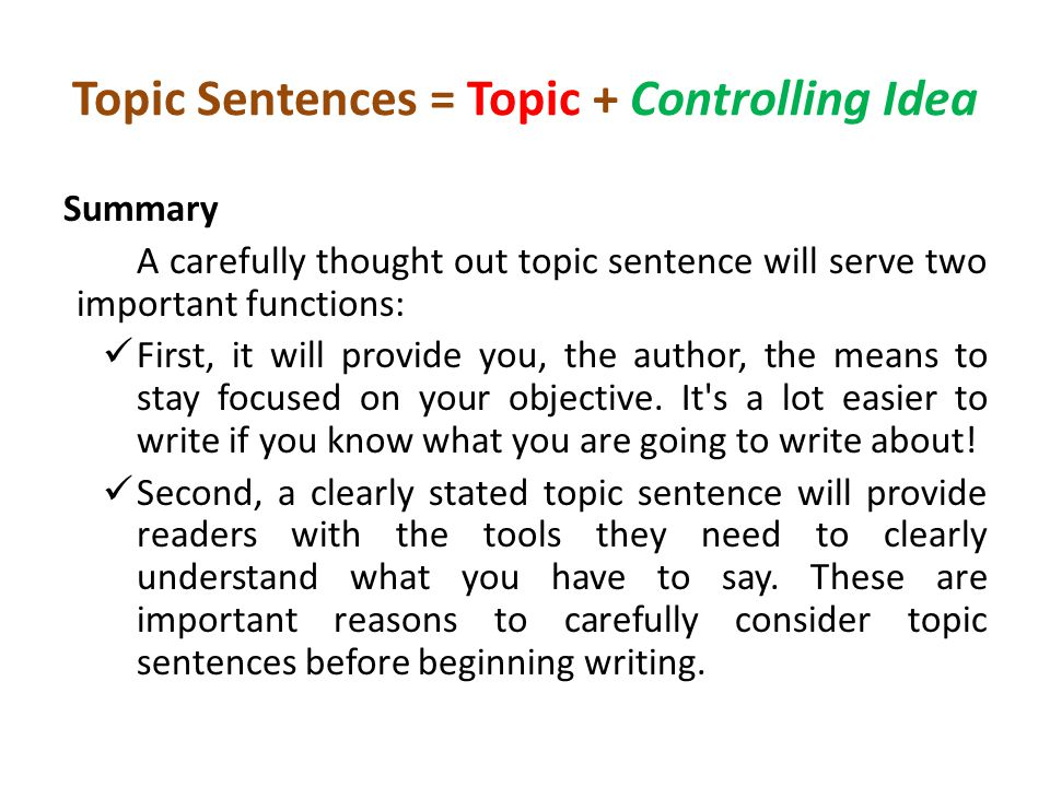 how to write a topic sentence example