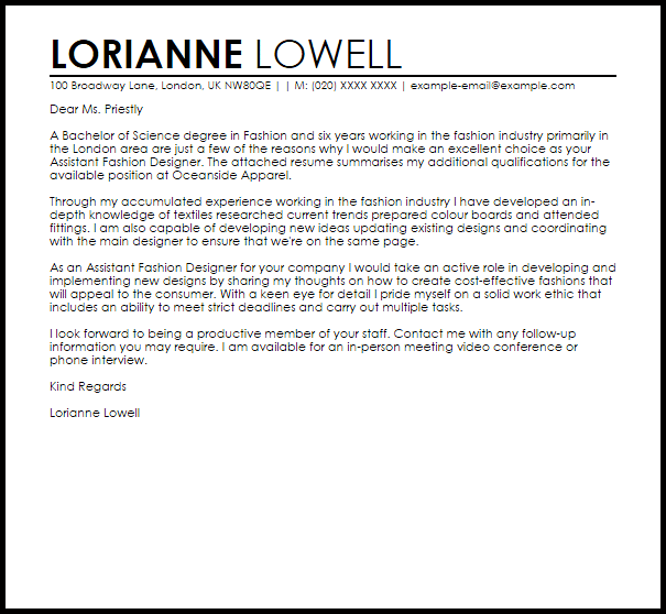 professional email job application example