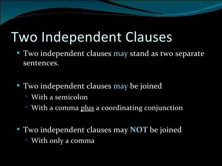 what is an example of an independent clause